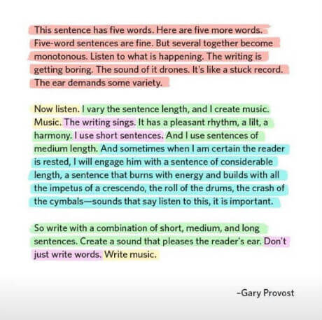 Gary Provost - This sentence has five words